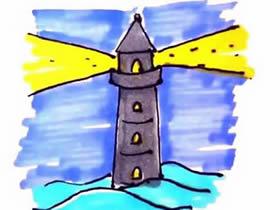 夜晚的灯塔简笔画画法图片步骤