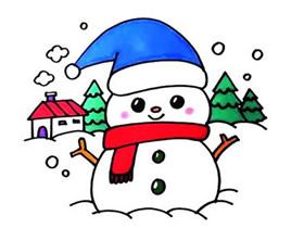 圣诞雪人简笔画画法图片步骤
