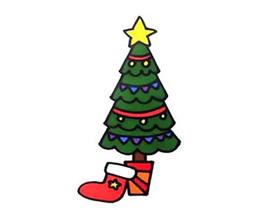 彩色圣诞树简笔画画法图片步骤