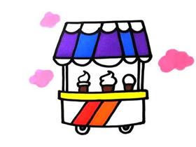 彩色冰激凌车简笔画画法图片步骤