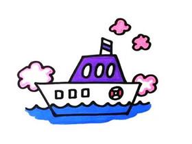 海上轮船简笔画画法图片步骤