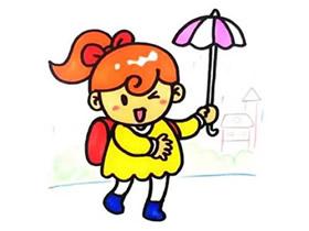 打伞的小女孩简笔画画法图片步骤