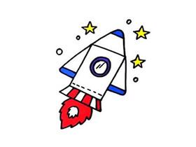 飞行的火箭简笔画画法图片步骤