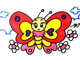 美丽的蝴蝶简笔画画法图片步骤