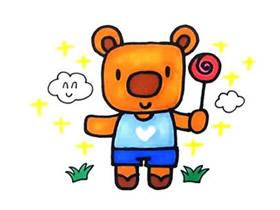拿着棒棒糖的小熊简笔画画法图片步骤