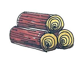 一堆木头简笔画画法图片步骤
