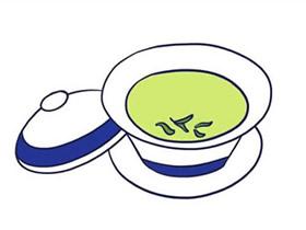 一杯绿茶简笔画画法图片步骤