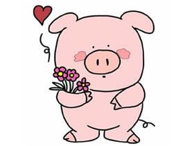 情人节小猪简笔画画法图片步骤