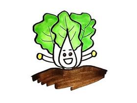 卡通大白菜简笔画画法图片步骤