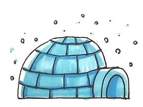 爱斯基摩人冰屋简笔画画法图片步骤