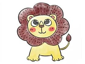可爱的小狮子简笔画画法图片步骤