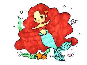 卡通美人鱼简笔画画法图片步骤