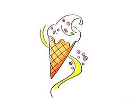 彩色冰激凌简笔画画法图片步骤