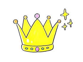 彩色公主皇冠简笔画画法图片步骤