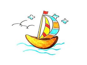 大海里的帆船简笔画画法图片步骤