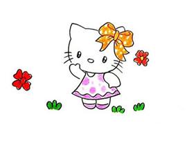 可爱凯蒂猫简笔画画法图片步骤