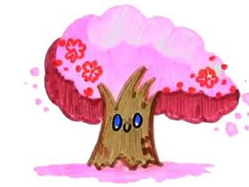 彩色樱花树简笔画画法图片步骤