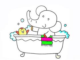 泡澡的大象简笔画画法图片步骤