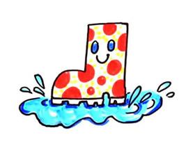 卡通雨鞋简笔画画法图片步骤