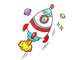 卡通宇宙火箭简笔画画法图片步骤