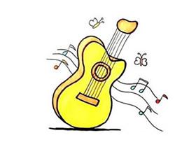 彩色吉他简笔画画法图片步骤