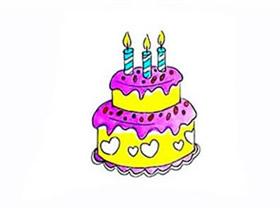 双层生日蛋糕简笔画画法图片步骤