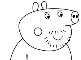小猪佩奇猪伯伯简笔画画法图片步骤