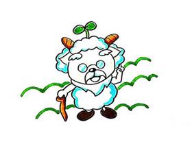 彩色慢羊羊简笔画画法图片步骤