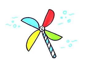 彩色风车简笔画画法图片步骤