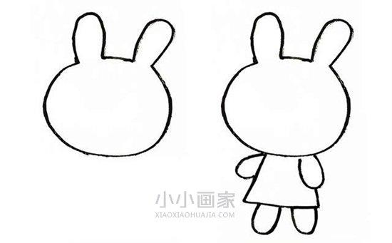 卡通兔子简笔画画法图片步骤- www.xiaoxiaohuajia.com