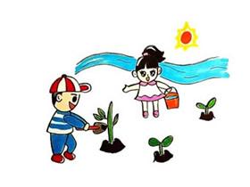 五一劳动节种树简笔画画法图片步骤