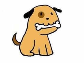 叼骨头的小狗狗简笔画画法图片步骤