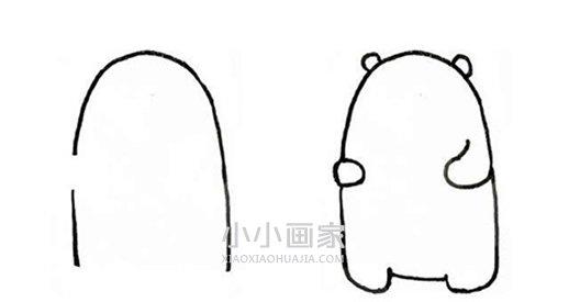 小白熊简笔画画法图片步骤- www.xiaoxiaohuajia.com