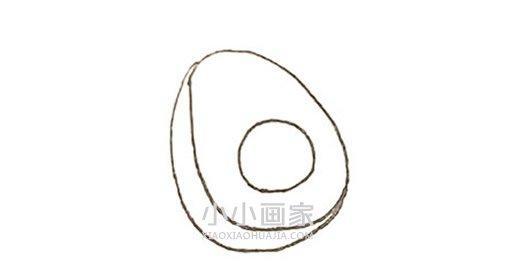 彩色牛油果简笔画画法图片步骤- www.xiaoxiaohuajia.com