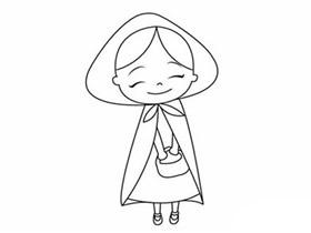 可爱小红帽简笔画画法图片步骤