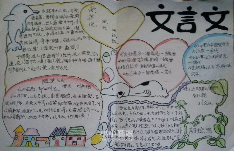 我爱文言文手抄报内容图片小学生- www.xiaoxiaohuajia.com