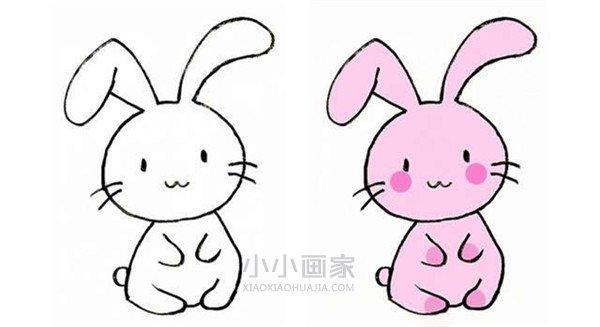 粉色兔子简笔画画法图片步骤- www.xiaoxiaohuajia.com