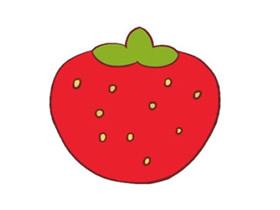 红色草莓简笔画画法图片步骤