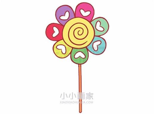 彩虹棒棒糖简笔画画法图片步骤- www.xiaoxiaohuajia.com