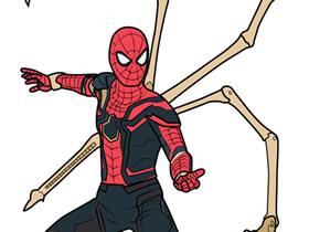 穿着全新战甲的蜘蛛侠简笔画画法图片步骤