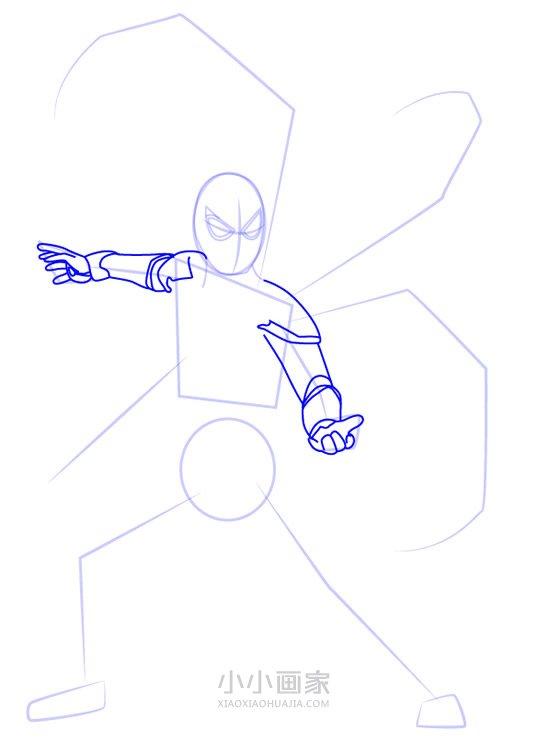 穿着全新战甲的蜘蛛侠简笔画画法图片步骤- www.xiaoxiaohuajia.com