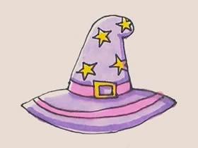 漂亮巫婆帽简笔画画法图片步骤