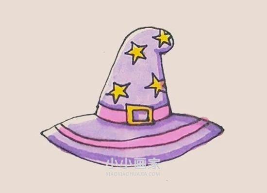 漂亮巫婆帽简笔画画法图片步骤- www.xiaoxiaohuajia.com