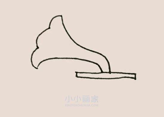 彩色留声机简笔画画法图片步骤- www.xiaoxiaohuajia.com