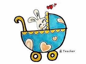 漂亮婴儿车简笔画画法图片步骤