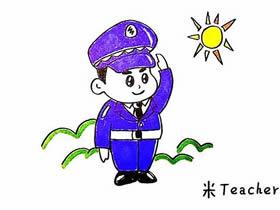 敬礼的警察简笔画画法图片步骤
