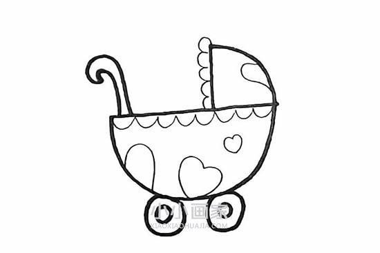 漂亮婴儿车简笔画画法图片步骤- www.xiaoxiaohuajia.com