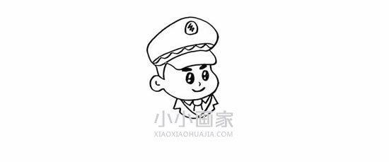 敬礼的警察简笔画画法图片步骤- www.xiaoxiaohuajia.com