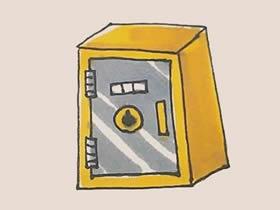 彩色保险柜简笔画画法图片步骤