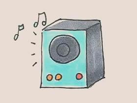彩色音箱简笔画画法图片步骤